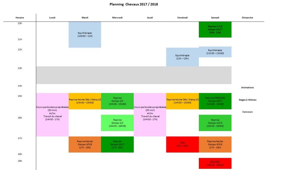 Planning Chevaux 2017-2018